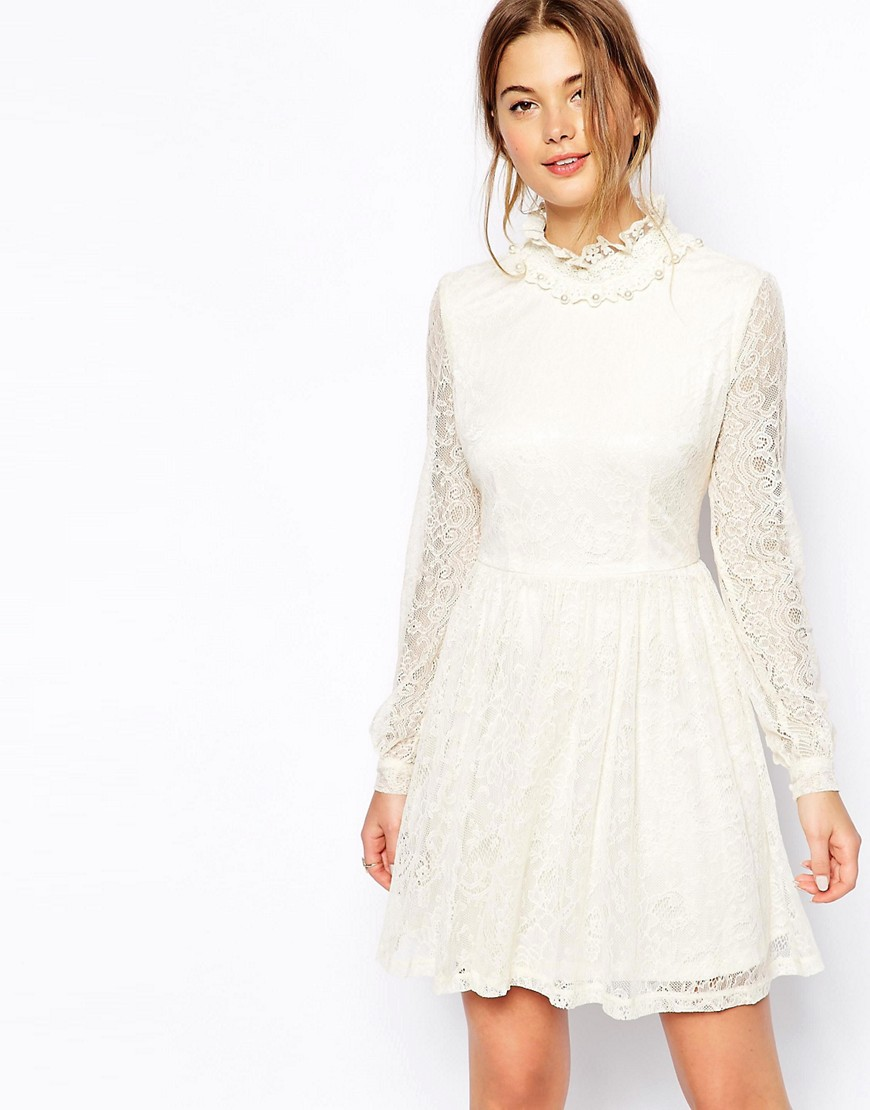 QED London High Neck Lace Dress - Cream