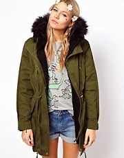 ASOS Fur Hooded Detachable Lined Parka With Black Borg