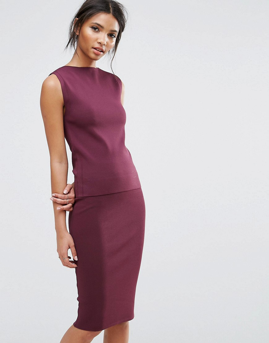 Selected Sleeveless Knit Top Co-Ord - Mauve wine