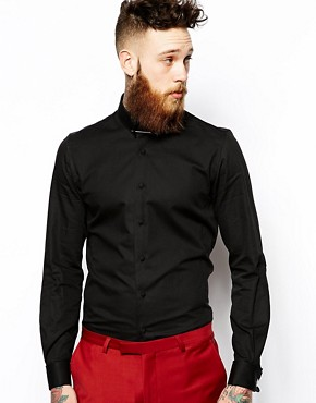 Noose & Monkey Textured Shirt With Collar Bar