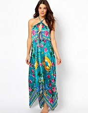 South Beach Lola Scarf Print Maxi Dress