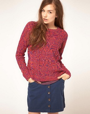 Image 1 ofVila Knitted Jumper in Multi Coloured Cable