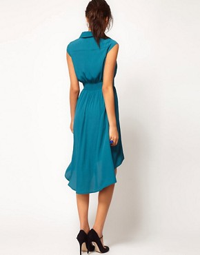 Image 2 of ASOS Midi Dress With Dipped Hem And Collar