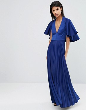 ASOS Pleated Ruffle Cape Tiered Maxi Dress