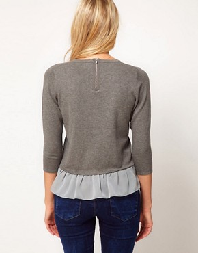 Image 2 ofASOS Jumper With Woven Peplum