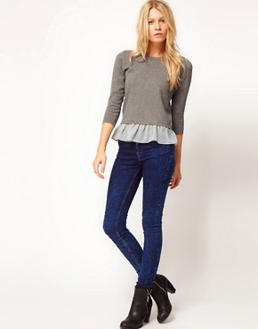Image 4 ofASOS Jumper With Woven Peplum