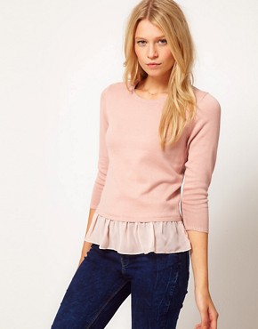 Image 1 ofASOS Jumper With Woven Peplum