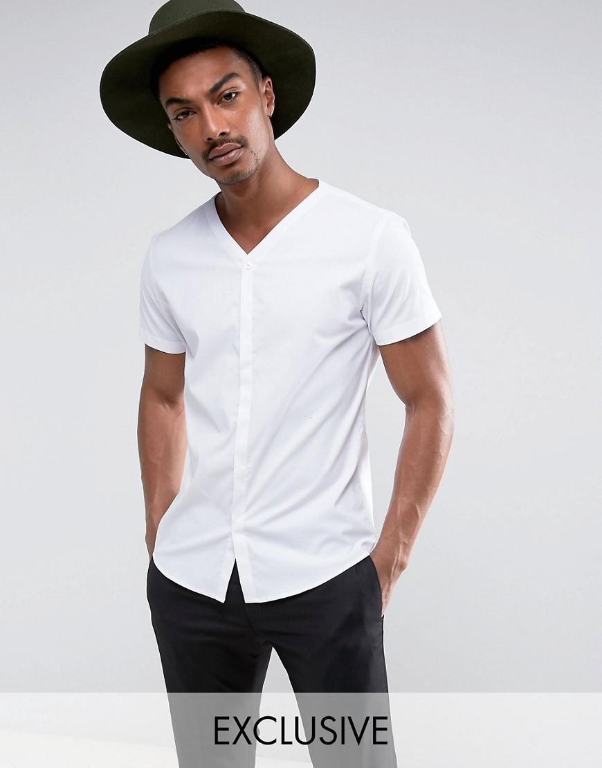 Noak Skinny Concealed Placket Shirt With Short Sleeve - White