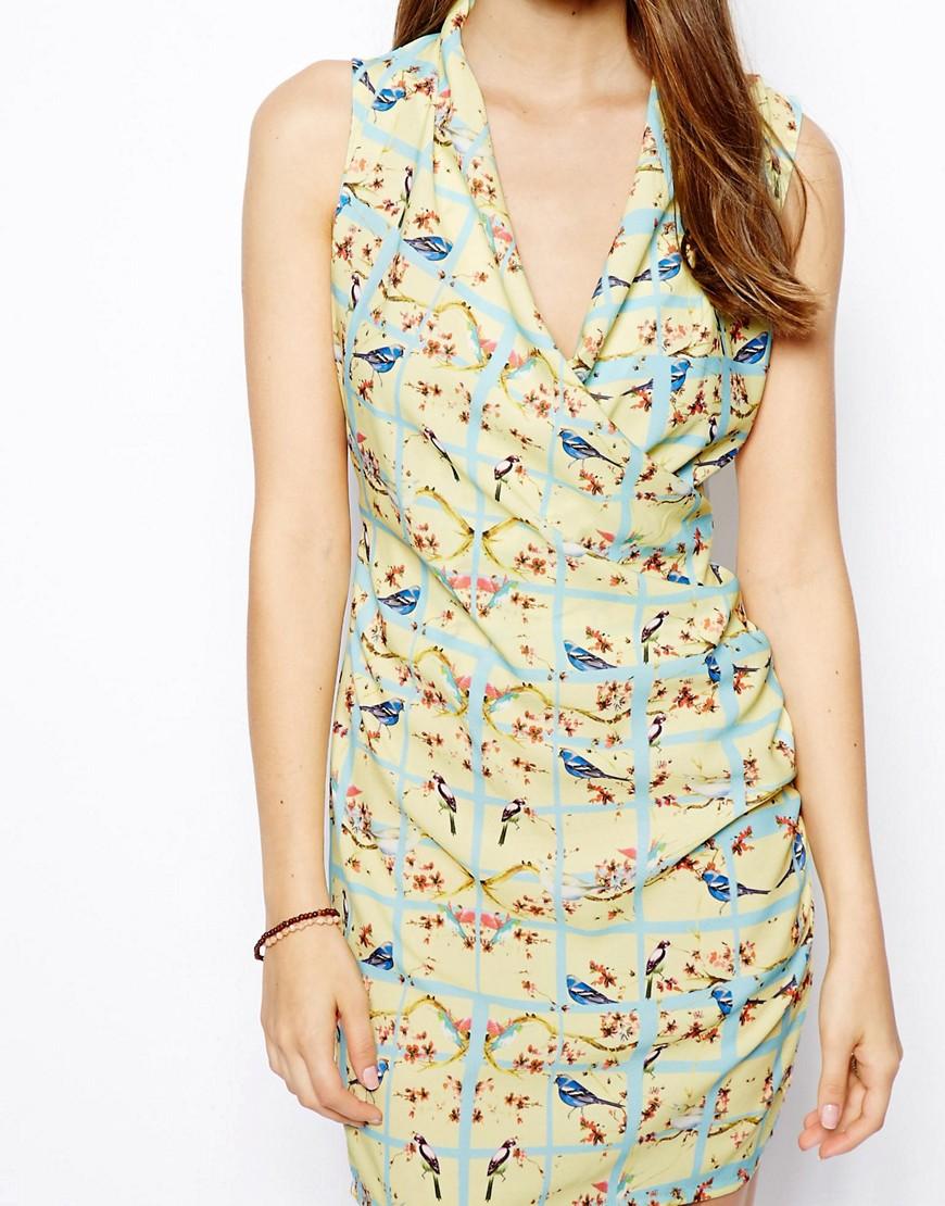 Image 3 ofLiquorish Bird Print Ruched Dress