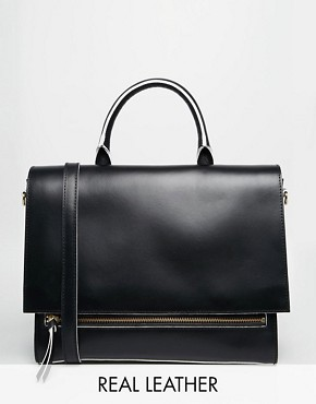 ASOS Haven Premium Front Zip Handheld Leather Bag