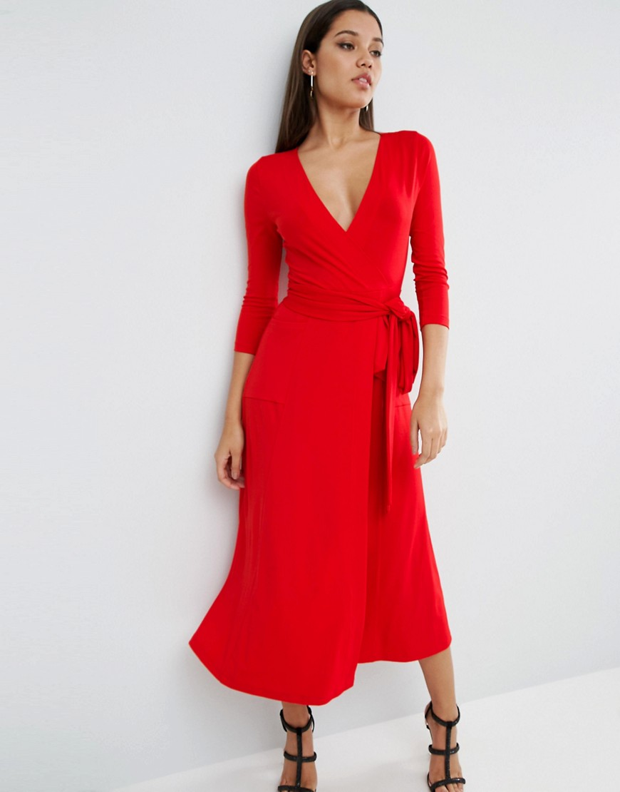 ASOS Wrap Maxi Dress In Jersey Crepe - Red