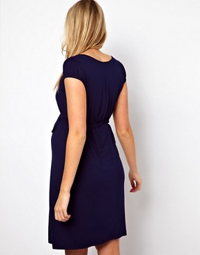 Image 2 ofASOS Maternity Belted Dress With Scoop Neck