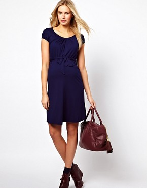 Image 4 ofASOS Maternity Belted Dress With Scoop Neck