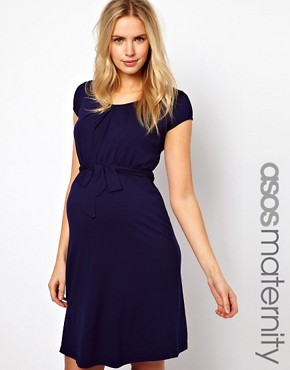 Image 1 ofASOS Maternity Belted Dress With Scoop Neck