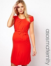 ASOS Maternity Belted Dress With Scoop Neck