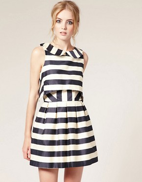 Image 1 ofASOS Peter Pan Dress in Stripe Print
