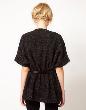 Image 2 ofIRO Tweed Short Sleeved Cape Coat With Belt