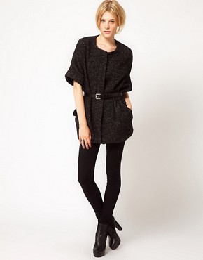 Image 4 ofIRO Tweed Short Sleeved Cape Coat With Belt