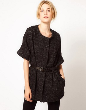 Image 1 ofIRO Tweed Short Sleeved Cape Coat With Belt