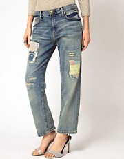 Current/Elliot Patched Boyfriend Jeans