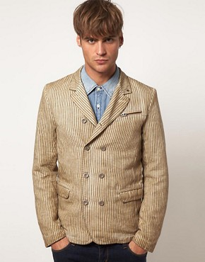 Image 1 ofDiesel Jurua Stripe Linen Blazer