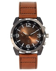 River Island Tan Bronze 3 Dials Watch
