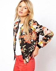 Oasis Oriental Floral Print Bomber Jacket
