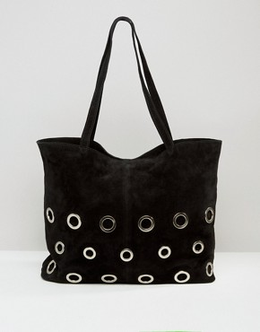 ASOS Suede Shopper Bag With Eyelet Detail