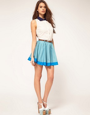 Image 1 ofRare Colourblock Hem Skirt With Belt