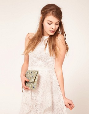 Image 3 ofASOS Jewel Lace Clutch