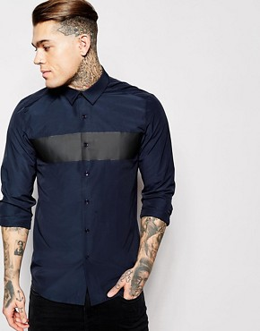 ASOS Shirt In Long Sleeve With Rubber Chest Placement
