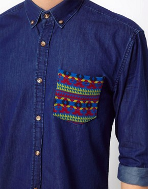 Image 3 ofSelected Shirt With Contrast Pocket