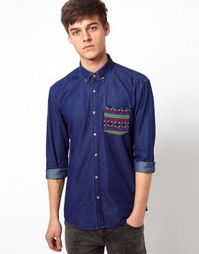 Image 1 ofSelected Shirt With Contrast Pocket