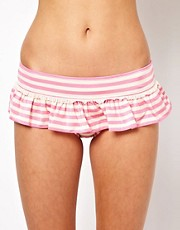Juicy Couture Stripe Hipster Skirted Bikini Bottom