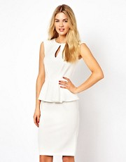 Closet Peplum Pencil Dress with Keyhole Detail