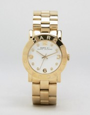 Reloj de pulsera dorado con esfera blanca de Marc By Marc Jacobs