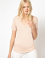 Selected Basic T-Shirt with Gathered Shoulder Detail