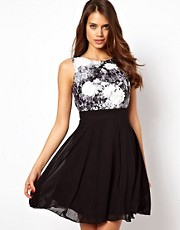 Little Mistress Printed Lace Bodice Prom Dress