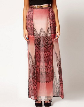 Image 4 ofRiver Island Printed Chiffon Maxi Skirt