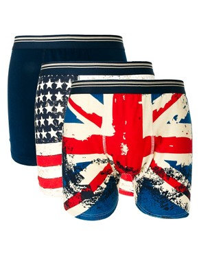 Image 1 ofRiver Island New Stars And Stripes 3 Pack Trunks
