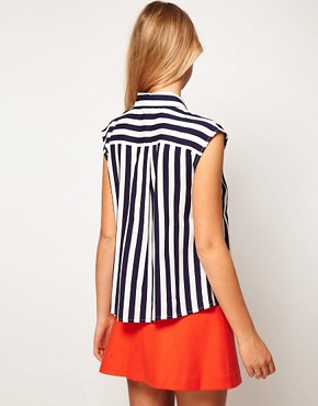 Image 2 ofASOS Blouse With Folded Collar In Stripe Print