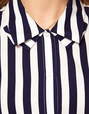 Image 3 ofASOS Blouse With Folded Collar In Stripe Print
