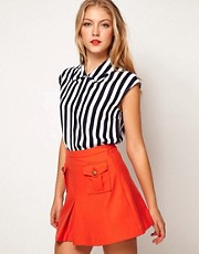 ASOS Blouse With Folded Collar In Stripe Print