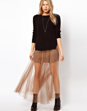 Image 1 ofJovonnista Pleated Mesh Maxi Skirt