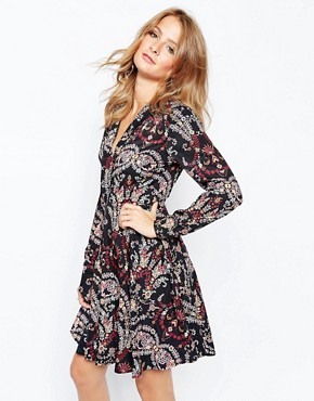 Millie Mackintosh 70s Floral Print Dress With Tie Neck