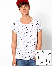 ASOS T-Shirt With Roll Sleeve And All Over Lightening Bolt Print