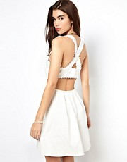 ASOS Sundress With Pique Trim And Cross Back