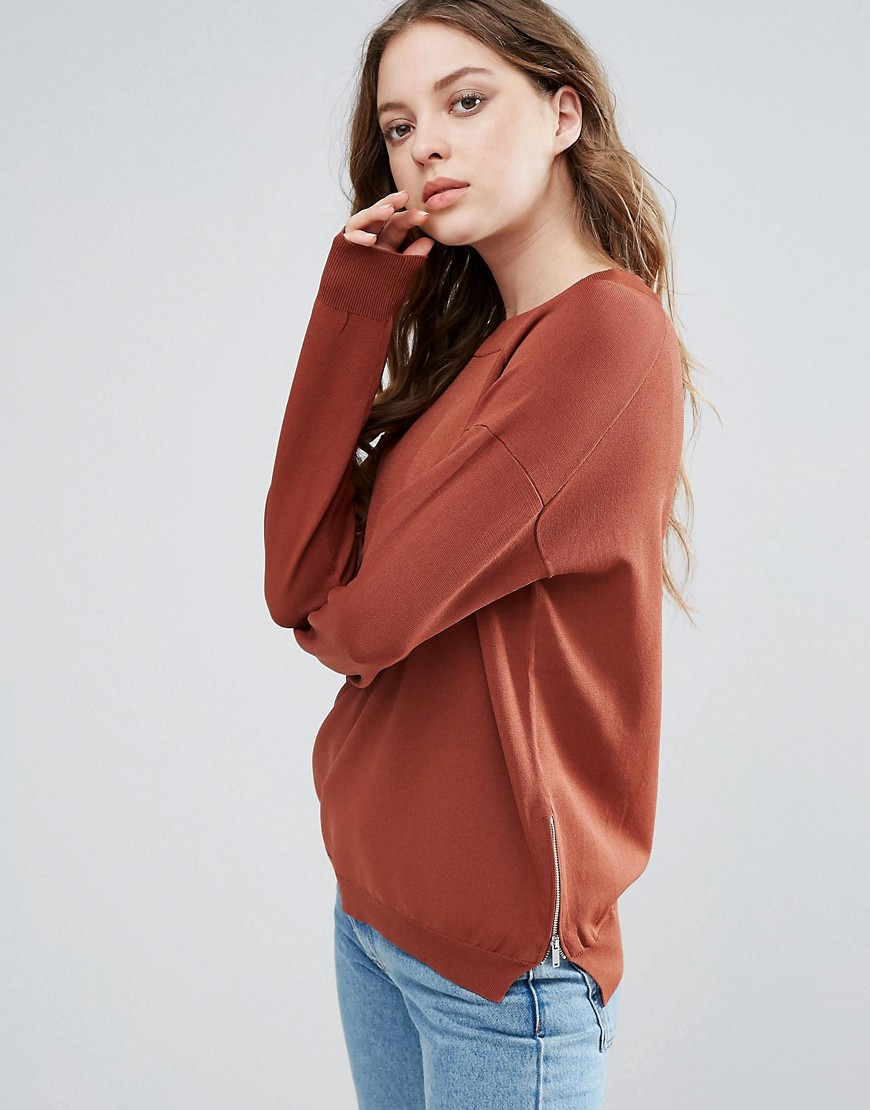 Selected Penna Sweater with Side Zips - Brown