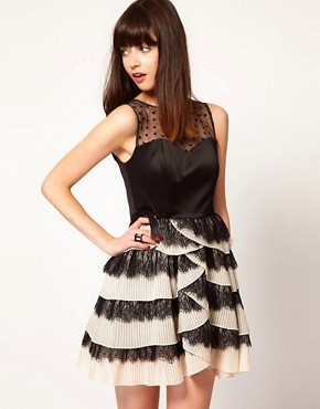 Image 1 ofNishe Dress with Pleated Skirt and Heart Mesh Detail