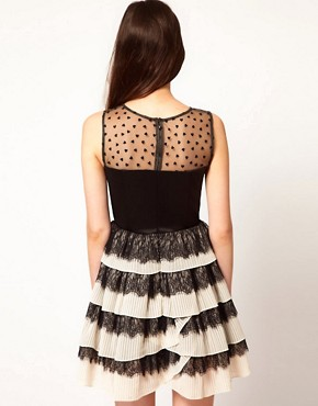 Image 2 ofNishe Dress with Pleated Skirt and Heart Mesh Detail